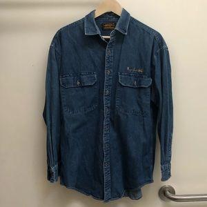 Vintage Eddie Bauer Denim Shirt With Lure Detail
